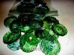 100 Antique Green Murano Hand Blown Glass Crystal Flowers For Chandelie/lamps