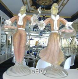 12 Barovier Murano Pink Bullicante Gold Dancing Figures Art Glass Sculptures