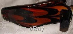 13 High Heel Boot Italy Venetian Murano Case Glass Black Orange Swirl Halloween