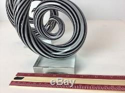 13 MURANO Hand Blown Art Glass 2 Swirl Sculpture Music Clef Note Vintage Pair