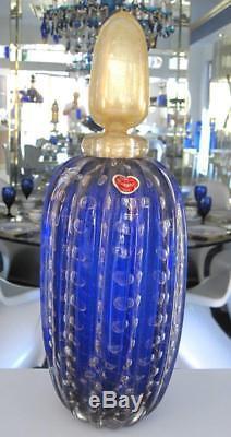 14 1/4 Murano Label Italian Blue Gold Bullicante Handblown Art Glass Decanter