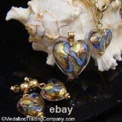 14k Yellow Gold Blue Murano Hand Blown Italian Glass Heart Stud Ball Earrings
