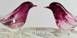 16 Pair of Vintage Murano Italy Hand Blown Glass Birds Perched on Log