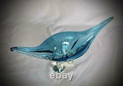 17.5 wide Mid century Murano style Blue Chalet glass hand blown gondola