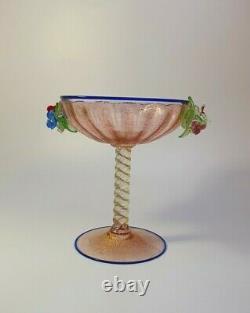 1890s Rare Antonio Salviati 24k Gold Glass Champagne Wine Glass Applied Flowers