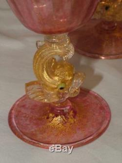1920's Salviati Venetian Murano Glass DOLPHIN FISH Pink Gold Dust Cocktail Stem