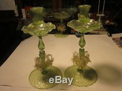 1920s Masterpiece Salviati Venetian Murano Adventurine Swan Glass Candlesticks