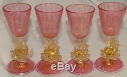 1920s Salviati Venetian Murano Glass DOLPHIN FISH Pink Gold Dust Cordial Liqueur