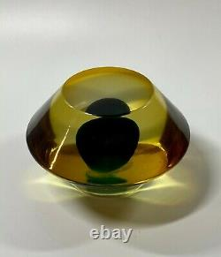 1950s Luciano Gaspari for Salviati Signed Sommerso Murano Paperweight 4.5 D