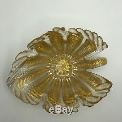 1950s Mid Century Barovier & Toso Cordonato D' Oro Aventurine Gold Leaf Bowl
