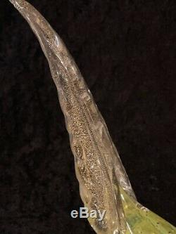 1960's MCM MURANO Pheasent Bird Figurine Aventurine Uranium Citrine Art Glass