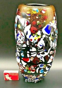 1960's Murano 25 CM Art Glass Vase Gold Aventurine Millefiori Hand Made Gd Cond