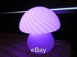 1980s White Swirl Mushroom Glass Globe Lamp Vetri Venini 11H x 9D