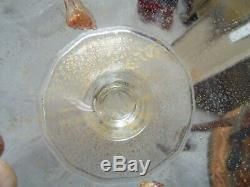 19th C Salviati Murano Venetian Art Glass Dolphin Handle Candy Dish Compote