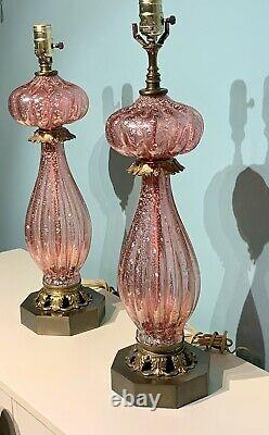 (2) BAROVIER & TOSO Murano lamps- Pink Cranberry Glass with Silver Fleck withLabel