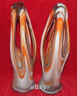 2 Gorgeous Handblown Italian Murano Art Glass Basket Vases MID Century Modern