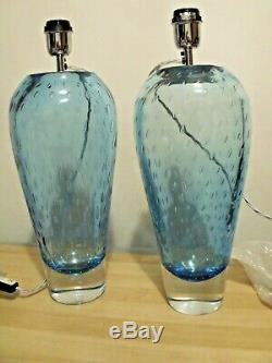 2 Heathfield Esme Sapphire Hand-Blown Glass Table Lamp 45cm High Made In U. K
