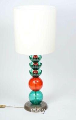 2 Italian Murano Glass lamp, brass bases