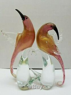 2 Murano Birds Of Paradise Formia Hand Blown Art Glass Light Cranberry/gold