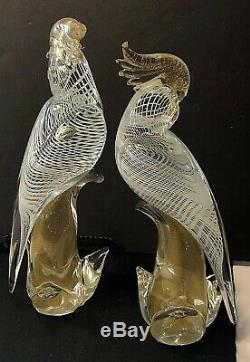 2 Vtg Murano Glass Parrots Cockatoo Birds 12 Archemide Seguso Gold Flake Italy