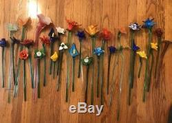 25 Vintage Murano Hand Blown Art Glass Long and Short Stem Flower Bouquet