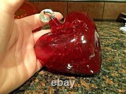 3 Hearts1 SIGNED Salviati MURANO ART GLASS HEART Vase1 Hand Blown Hanging