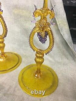 3 Salviati Murano Venetian Glass Hand Blown 14-1/4 Tall Candle Holders Grapes