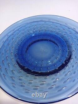 4 Cobalt Blue Hand Blown Murano Italy Art Glass Control Bubble Plates 8