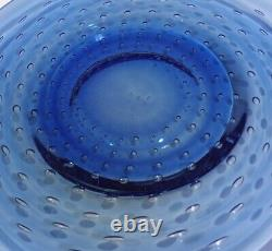 4 Cobalt Blue Hand Blown Murano Italy Art Glass Control Bubble Plates 8
