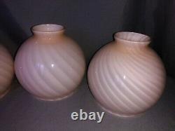 4 MCM Murano Blush Pink Swirl Mushroom Glass Lamp Light Shade Globe Venini Vetri