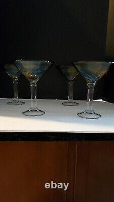 4 Oversized Hand blown Murano Art Style Margarita/Martini glass Set