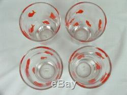 4 Rare Crate & Barrel Goldfish Murano Style Hand Blown 16 oz Tumblers Glasses 6
