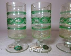 5 vintage hand blown Balboa Italian Venetian Murano gold art glass chalices cup
