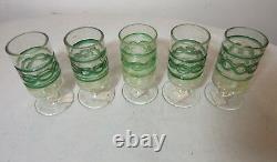 5 vintage hand blown Balboa Italian Venetian Murano gold art glass chalices cups