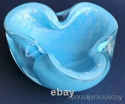 50s Alfredo Barbini Murano Bullicante Aqua Blue Bowl with Gold & Controlled Bubble
