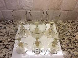 6 MURANO VENETIAN HAND BLOWN YELLOW SWAN GLASS STEMS VINTAGE 1940s