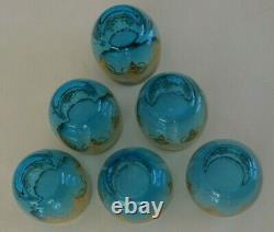 6 New Hand-blown Glasses Blue 24 Karat Gold by Vecchia Murano with Certification