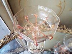 6 Salviati Murano Gold Flake Art Glass Pink Drip Prunts Champagne Goblets Stems