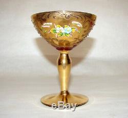6 Venetian Murano Art Glass Tre Fuochi Style Glasses Red Gold Enamel Decor