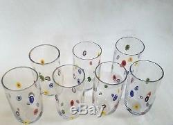 (7) LEONARDO MILLEFIORI MURANO GLASS Floral Hi Ball Tumblers ITALY Hand Blown 6