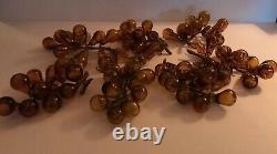 7 Vintage Amber Hand Blown Art Glass, Glass Grape Cluster, Mid-Century Murano