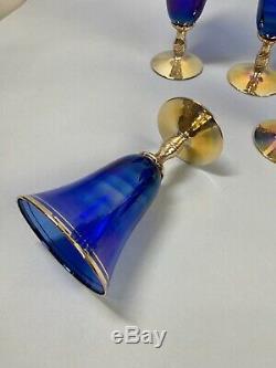 8 Hand Blown Italian Goblets Cobalt Blue and Gold Stemware
