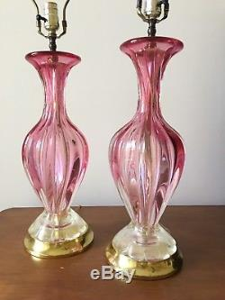 A Pair Mid-Century Barovier e Toso Murano Glass Hand Blown Table Lamp