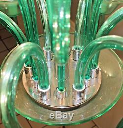 A. V. Mazzega Murano Hand Blown Emerald Glass chandelier Fine Working Cond