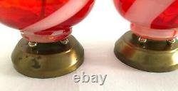 A Vintage Pair of Italian Mid Century Modern Hand-blown Orange Glass Table Lamps