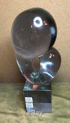 ABSTRACT MURANO ART GLASS SCULPTURE LIVIO SEGUSO 1970 NEODYMIUM signed