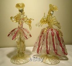 Absolutely Gorgeous Vintage Murano Art Glass Venetian Figurinesman+lady/woman
