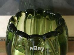 Alfredo Barbini Hand Blown Green Murano Italian Art Glass Vase circa 1950s MCM