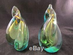 Alfredo Barbini Murano Blue, Teal, Gold Flame Italian Art Glass Bookends