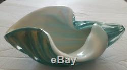 Alfredo Barbini Murano Venetian Art Glass Shell Bowl Gold Turquoise White